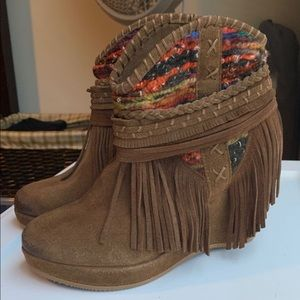 Shoes - Suede fringe western style wedge booties